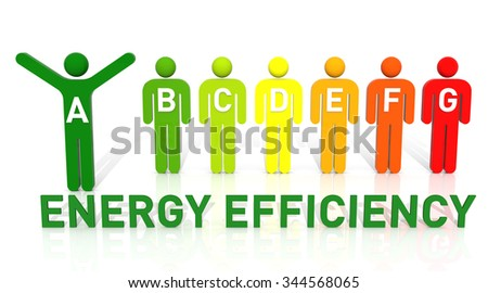 3D Pictogram Men, Energy Efficiency Concept, Isolated on White Background - stock photo