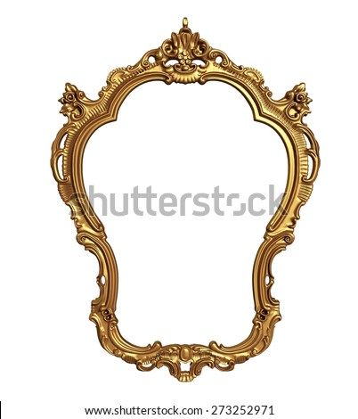 3D. Picture Frame, Frame, Gold. - stock photo