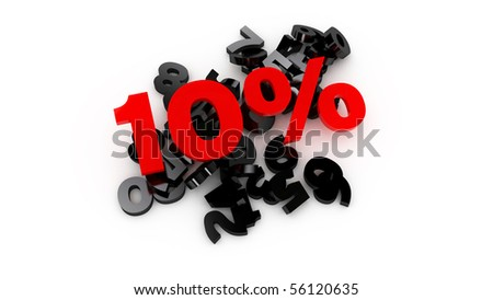 3d picture of 10% sale - isolated on white background - stock photo