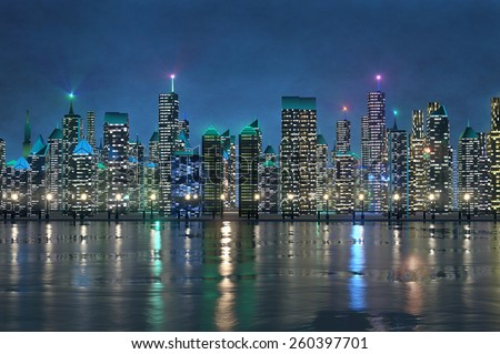 3d picture of shiny colorful night cityscape on a riverbank