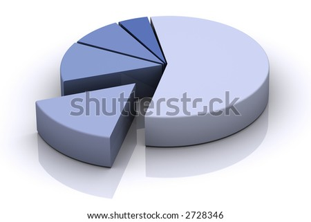 3d pie chart of blue tones (More 3d images like this available on my gallery) - stock photo