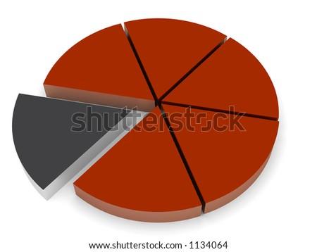 3d pie chart render - stock photo
