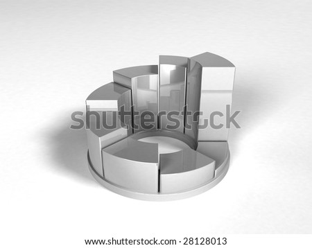 3d pie graph isolated on white - stock photo