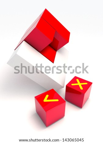 3d piece of component part red block reflections art concept abstract background assembly right and wrong , correct