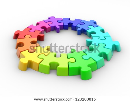 3d piece of puzzle( jigsaw). 3d render - stock photo