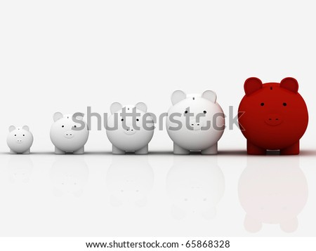 3d pig banks in a row showing growth - stock photo