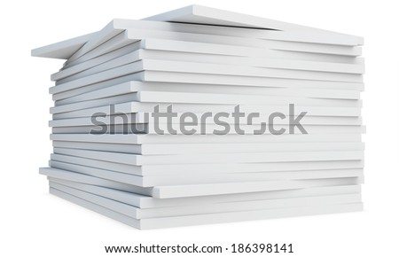 3d pile of  blank catalogs or magazines  on white background - stock photo