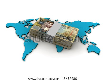 3D piles of Bahrain money on top of globe on isolated white background