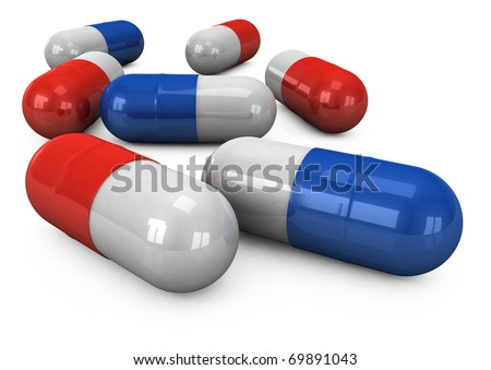3d pills on a white background - stock photo