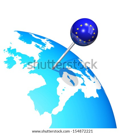 3d pin in europe map globe - stock photo