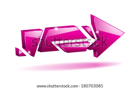 3D pink broken arrow pointer with reflection (raster version, available as vector too) - stock photo