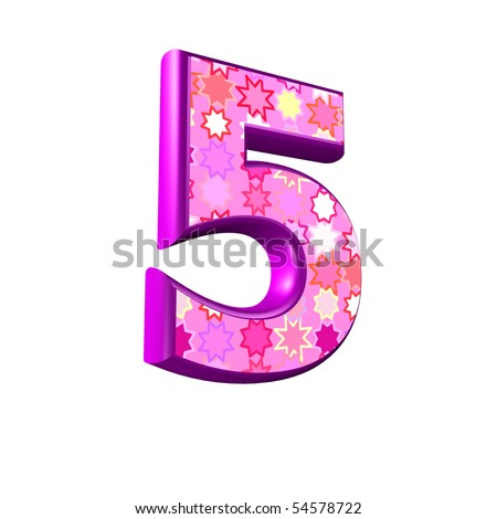 3d pink digit isolated on a white background - stock photo