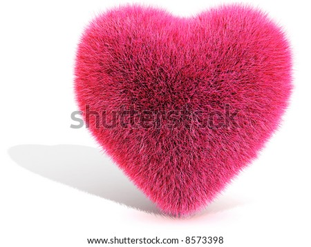 3D Pink Furred Heart - stock photo