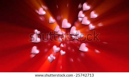 3D Pink Hearts on Red Background on a Red Background With Yellow Light Rays - stock photo