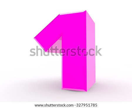 3d Pink number 1 on white background 3d rendering