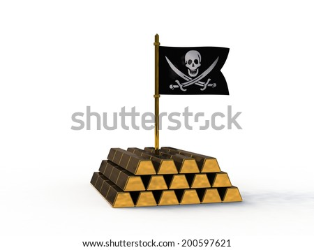 3d pirate flag stuck in gold - stock photo