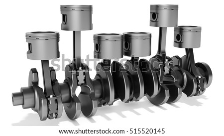 3d pistons and crankshaft, automotive engine on white background