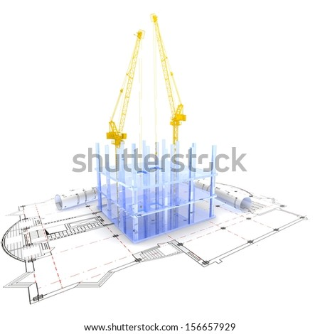 3D plan drawing. Concept-architecture. 3D render. - stock photo