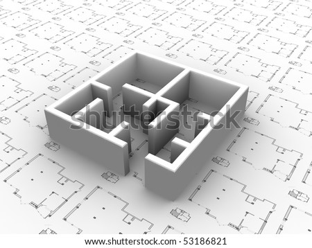 3D plan drawing. Concept - modern architecture and designing. - stock photo