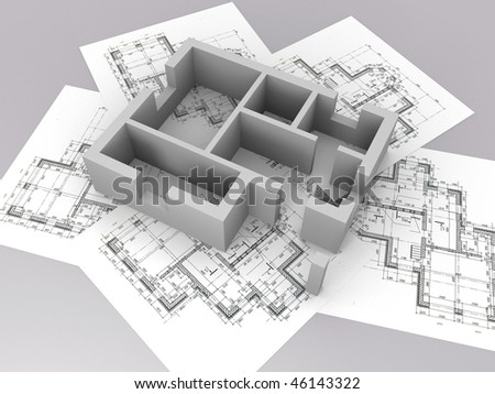 3D plan on top of architecture blueprints