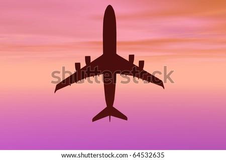 3d plane sunset silhouette travel generic render - stock photo