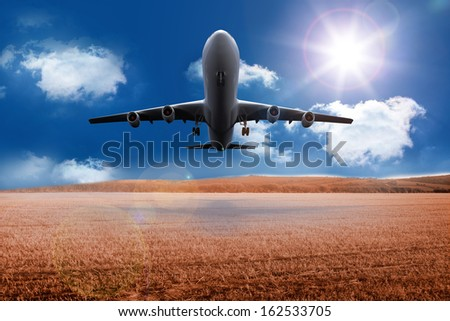 3D plane taking off over cornfield