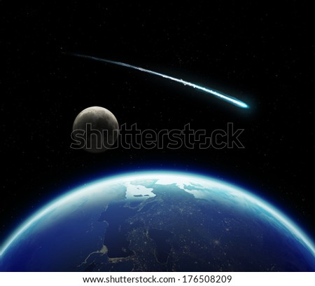 3D Planet Earth with Moon and Comet. Elements of this image furnished by NASA. - stock photo