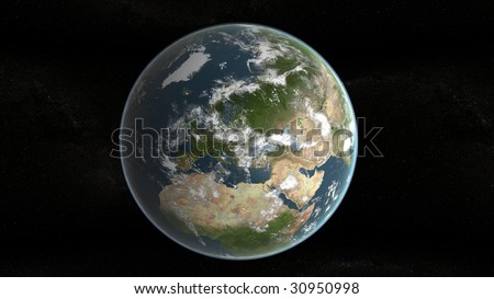 3d planet of earth showing europe and stars in background - stock photo