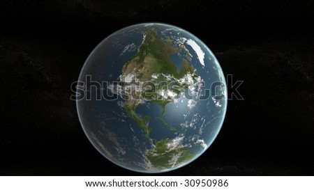 3d planet of earth showing north america and stars in background - stock photo