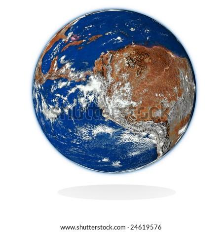 3d  planet on white. Data source: nasa. - stock photo