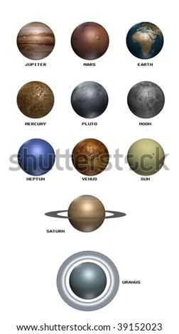 3d planet set isolated white backround - stock photo