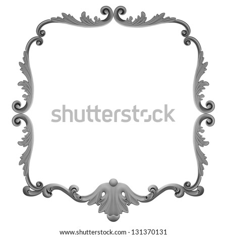 3d  plaster frame on a white background