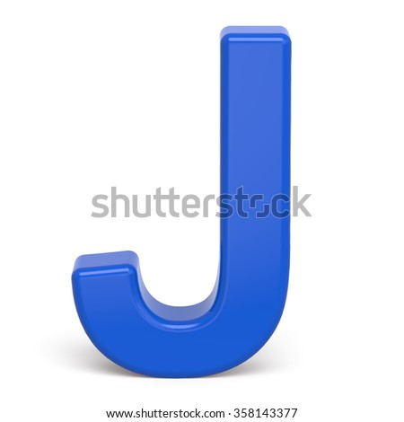 3d plastic blue letter j isolated stock illustration 358143377