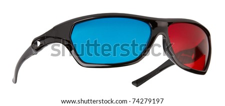3d plastic glasses isolated on white background - stock photo