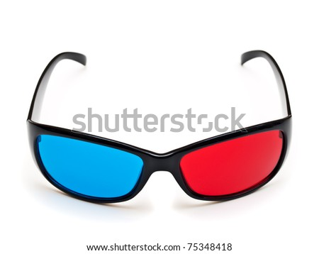 3d plastic glasses isolated on white background
