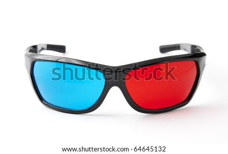 3d plastic glasses red and blue isolated on white with clipping path - stock photo