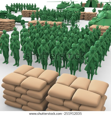 3D plastic toy soldiers illustration - stock photo