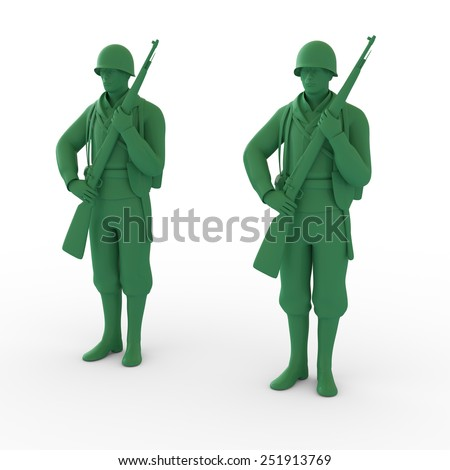 3D plastic toy soldiers illustration isolated - stock photo