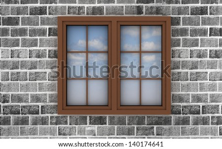 3d plastic window on a brick wall, with the reflection of the sky in it - stock photo