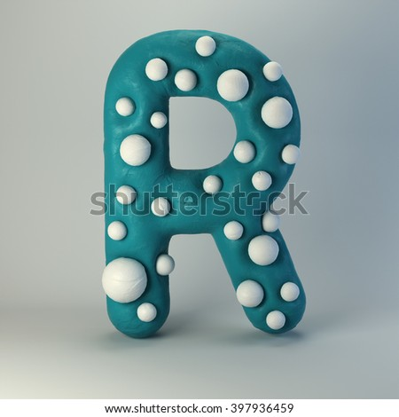3d Plasticine handmade font. Cute cartoon children's style figures with white polka dots. Bright emerald green uppercase letter R, isolated on white background. - stock photo