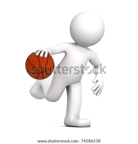 3D player isolatedon white background - stock photo