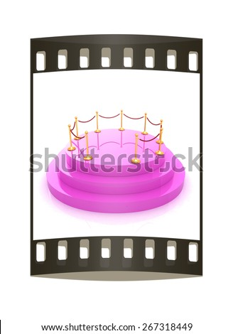 3D podium with gold handrail. The film strip - stock photo