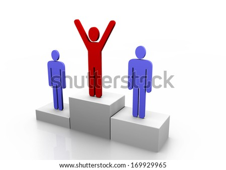 3D podium with one red and two blue stick figure