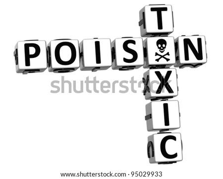 3D Poison Toxic Crossword on white background - stock photo