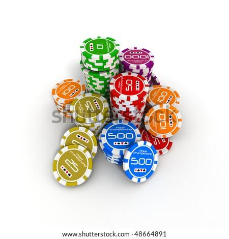 3D poker chips on white background - stock photo
