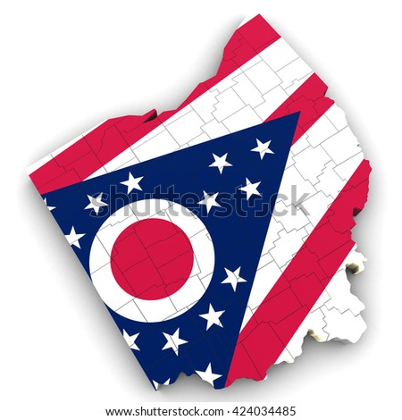 3d Political Map Of Ohio With Counties And State Flag