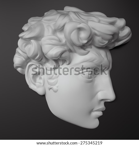 3d  portrait, classical antique sculpture object, part of David face isolated - stock photo