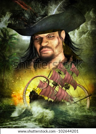 3D  portrait of a Male pirate with feather pirate hat, ship with pirate sails and ocean creature set in a dark tropical sea.