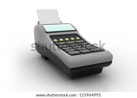 3D POS-terminal isolated - stock photo