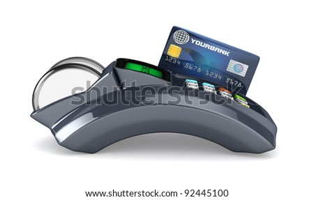 3D POS-terminal with credit card isolated - stock photo